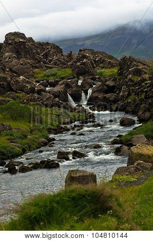 River at Thingvellir national park near Thingvallavatn lake