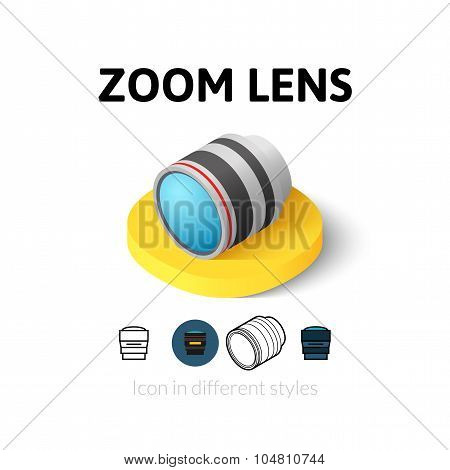 Zoom lens icon in different style