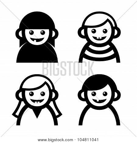 Baby and Children Faces Icons Set. Vector