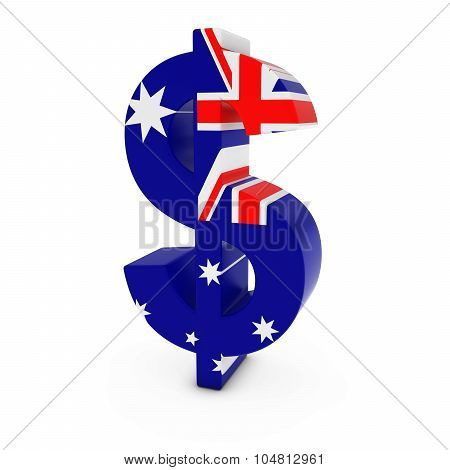 Dollar Symbol Textured With The Australian Flag Isolated On White Background
