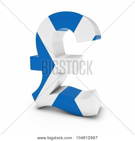 Pound Symbol Textured With The Scottish Flag Isolated On White Background