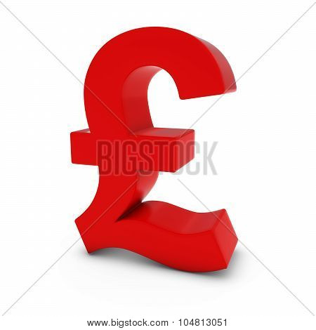Red Pound Symbol Isolated On White Background