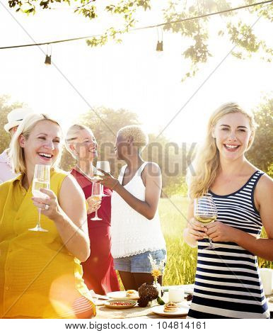 Diverse Neighbors Drinking Party Yard Concept