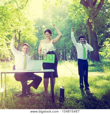 Business People Green Business Success Outdoors Concept