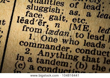 Close-up Of The Word Leader And Its Definition