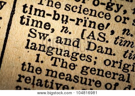 Close-up Of The Word Time And Its Definition