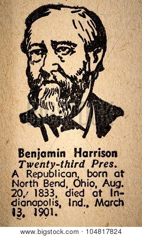 Benjamin Harrison The 23Rd President Of The United State Of America Drawing And Little Historical Te