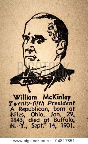 William Mckinley The 25Th President Of The United State Of America Drawing And Little Historical Tex