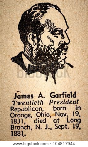 James A. Garfield The 20Th President Of The United State Of America Drawing And Little Historical Te