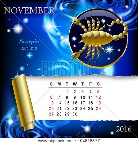 Simple monthly page of 2016 Calendar with gold zodiacal sign against the blue star space background. Design of November month page with Scorpio figure.