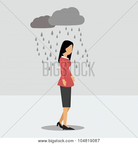 Woman In Depression In The Rain
