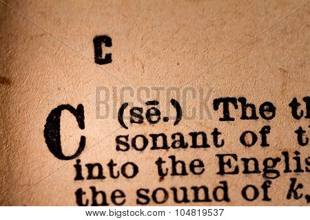 Close-up Of A C, The 3Rd Letter Of The Latin Alphabet