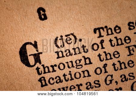 Close-up Of A G, The 7Th Letter Of The Latin Alphabet
