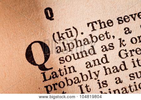 Close-up Of A Q, The 17Th Letter Of The Latin Alphabet