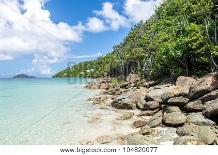 Rocky Shore On The Tropical Island