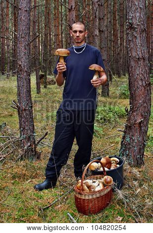 Young Man And Found Mushroom