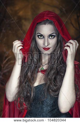 Beautiful Halloween Woman In Red Cloak