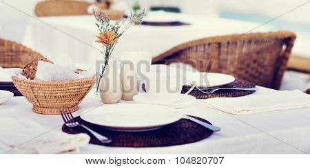 Restaurant Dining Table Set up Service Concept