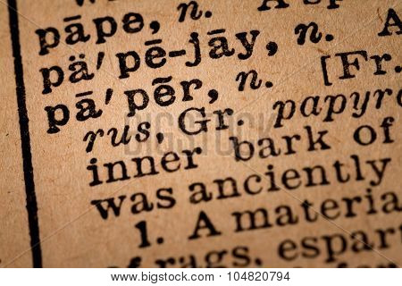 Close-up Of An Opened Dictionary Showing The Word Paper