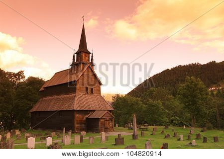 Sunset At Old Kaupanger Stave Church, Norway