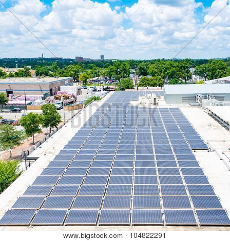 Solar Panels On Urban Rooftop