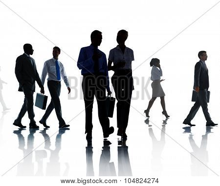 Corporate Business People Walking Rush Hour Concept