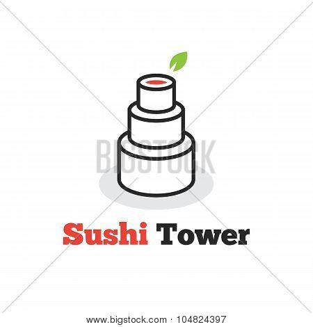 Vector trendy minimalistic sushi tower logo. Creative asian food logotype.