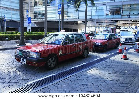 Red Taxi In Hong Kong Airport