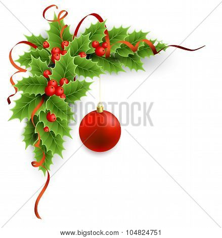 Vector Christmas holly with berries.