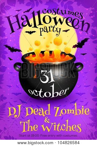 Bright purple Halloween party poster template with orange witches brew in cauldron, moon and bats