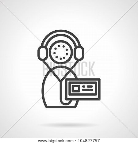 Record of training black line vector icon