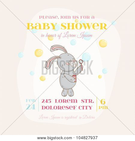 Baby Shower or Arrival Card - with Baby Bunny and Bubbles - in vector