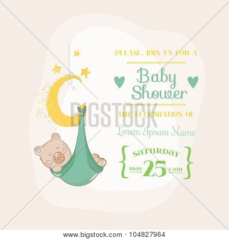 Baby Shower or Arrival Card - with Baby Bear on the Moon- in vector