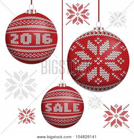 Red Knitted Christmas Balls