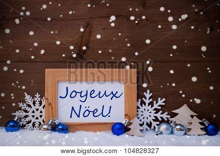 Blue Decoration, Snow, Joyeux Noel Mean Christmas, Snowflakes