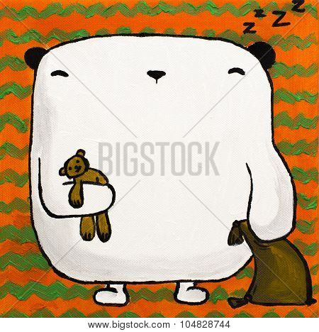 Illustration acrylic white teddy bear with pillow