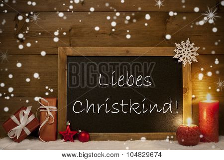 Christmas Card, Blackboard, Snowflakes, Christkind Mean Santa