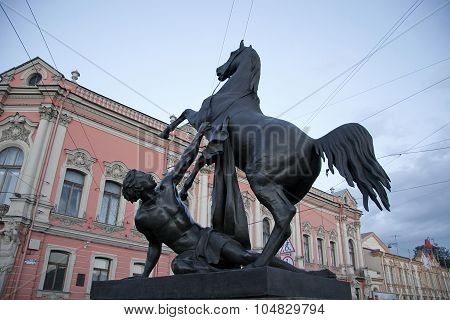 Boy Daunting Horse Sculpture In St. Petersburg In Russia
