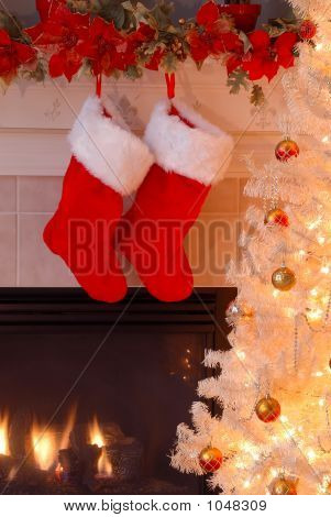 Christmas Stockings By The Fireplace
