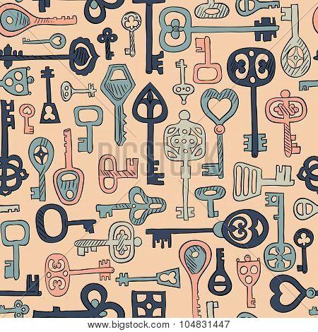 hand drawn vintage keys seamless pattern.