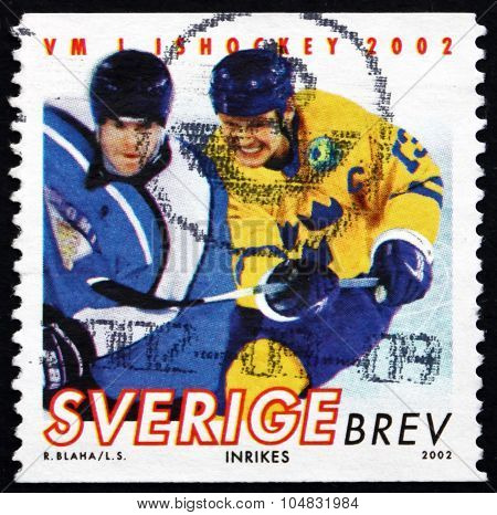 Postage Stamp Sweden 2002 Ice Hockey Player In Action