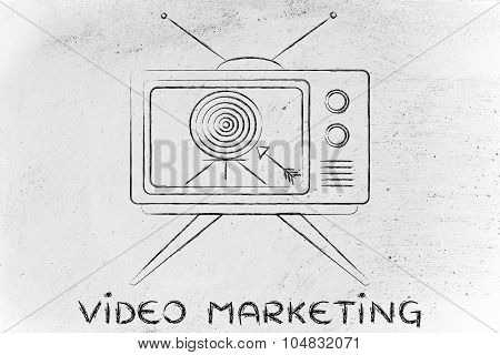 Video Marketing, Concept Of Tv Ads (screen With Targer And Arrow)