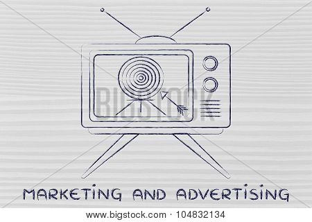 Concept Of Tv Advertising And Marketing (screeen With Target And Arrow)
