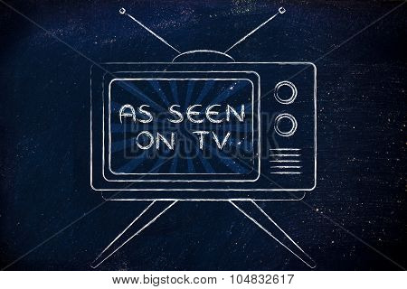As Seen On Tv, Tv Screen With Emphatic Ads