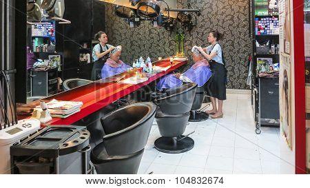 Man Gets A Hairwash At The Hairdresser