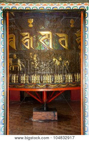 Giant Ornate Prayer Wheel In A Buddhist Monastery Tashiding