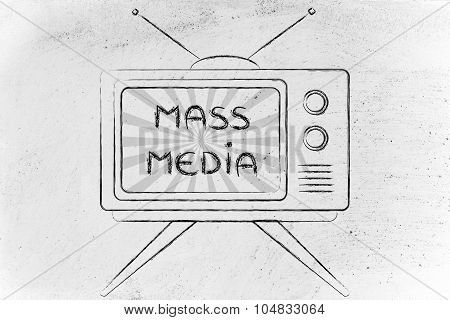 Mass Media, Tv Screen With Emphatic Message