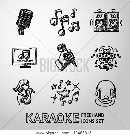 Set of karaoke singing freehand icons - microphone, notes, loudspeakers, tv-screen, hand with mic, c