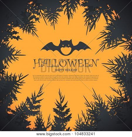 Halloween Party Design template, with pumpkin, bats and place for text.