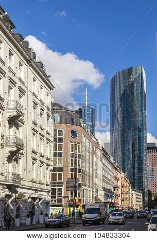 Downtown Street View In Frankfurt